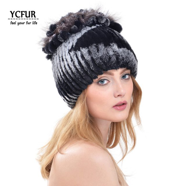 YCFUR Fashion Women Winter Caps Stripes Genuine Rex Rabbit Fur Wome Hats With Fur Trims Natural Fur Beanies Hats Ladies YH196