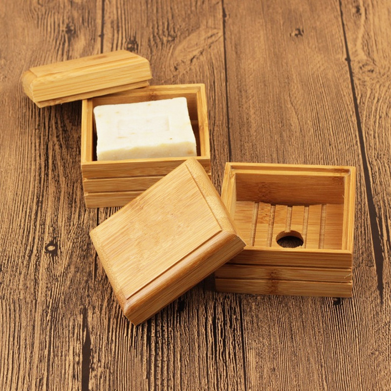 50pcs lot Natural Bamboo Soap Dish Wooden Soap Tray Holder Storage Soap Rack Plate Box Container