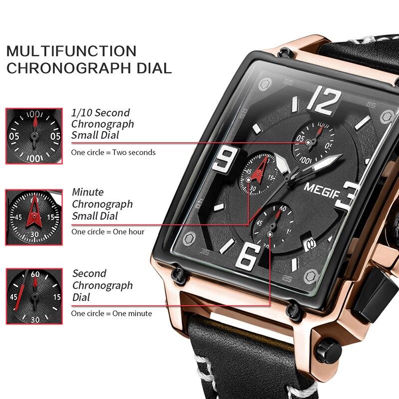 Image 2 - MEGIR Для мужчин большой циферблат Роскошные Лидирующий бренд Кварцевые наручные часы Творческий Бизнес Нержавеющаясталь спортивные часы Для мужчин Relogio MasculinoКварцевые часы   -