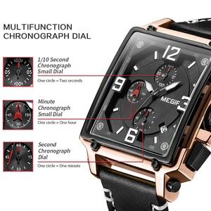 Image 2 - Üst marka lüks MEGIR yaratıcı erkekler İzle Chronograph kuvars saatler Saat erkek deri spor ordu askeri bilek İzle Saat 2020
