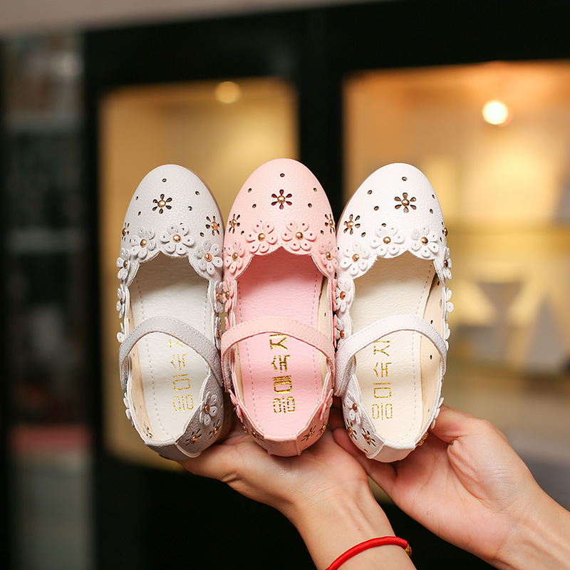 Kids Leather Shoes Sweet Princess Party Girls Baby Flower Shoes Children Rivet Student Dance Shoes 1 2 3 4 5 6 7 8 9 10 Years