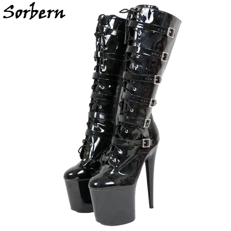 Sorbern 20Cm Spike High Heels Women Boots Knee High Buckle Straps Shiny Black Women Shoes Thick