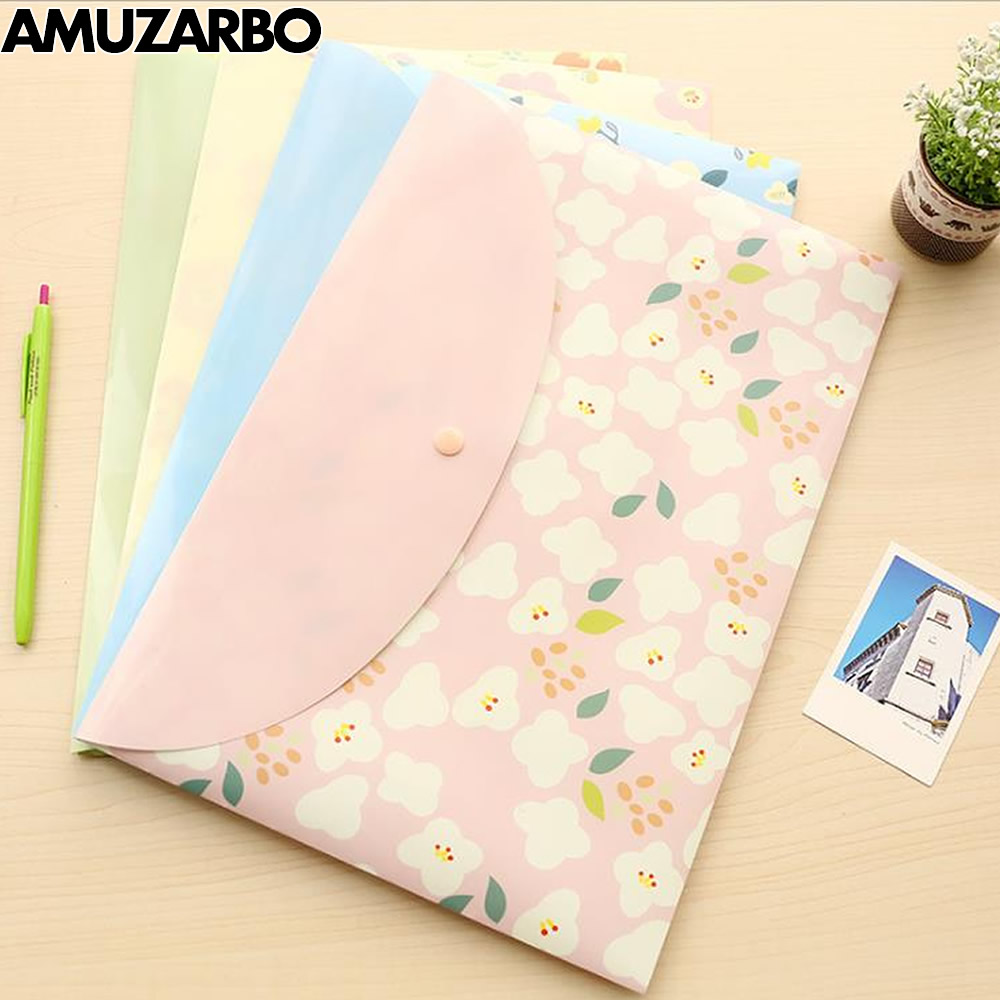 1 pcs A4 PVC cute animal floral pattern transparent information File Folder kawaii waterproof School Office bag stationery