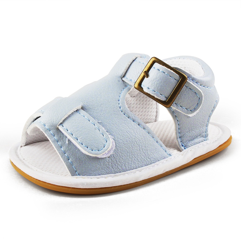 Summer Baby Sandals New Design PU or Canvas Clogs Rubber Sole Baby Shoes For 0-18 Months Baby Boy Flat Heel Beach Sandals