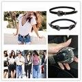 Moda Couro Preto Single & Double Pin Buckle Cintura Cinto das Mulheres Cinto de Fivela Acessórios de Vestuário