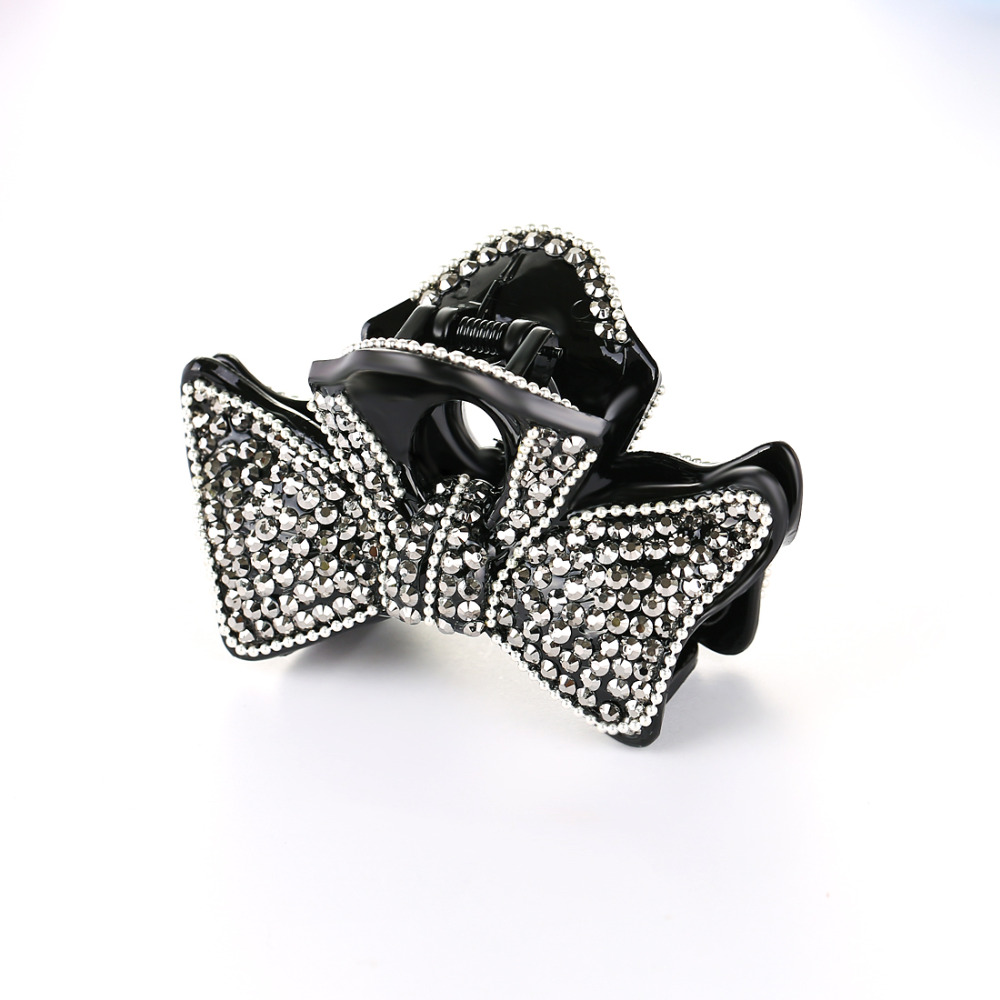 Black bow hair accessories - Large Bow Hair Claws Hair Accessories For Women Quality Hairpins Vintage Bling Black Color Barrettes Size L 9cm Hc1143