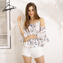 Gracegirl 2017 Summer Women Tops Series Spring Fashion Butterfly Sleeve Floral Print Sexy Blouse Shirts For Women ASS020