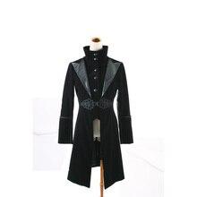 Панк-Рок Черный Красный китель Пальто блейзер Visual Kei Streampunk Мужская мода