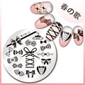 1Pc Nail Stamping Plates Cute Bownot Pattern 5.5cm Round Nail Art Stamp Stamping Template Image Plate Stencil Harunouta-32