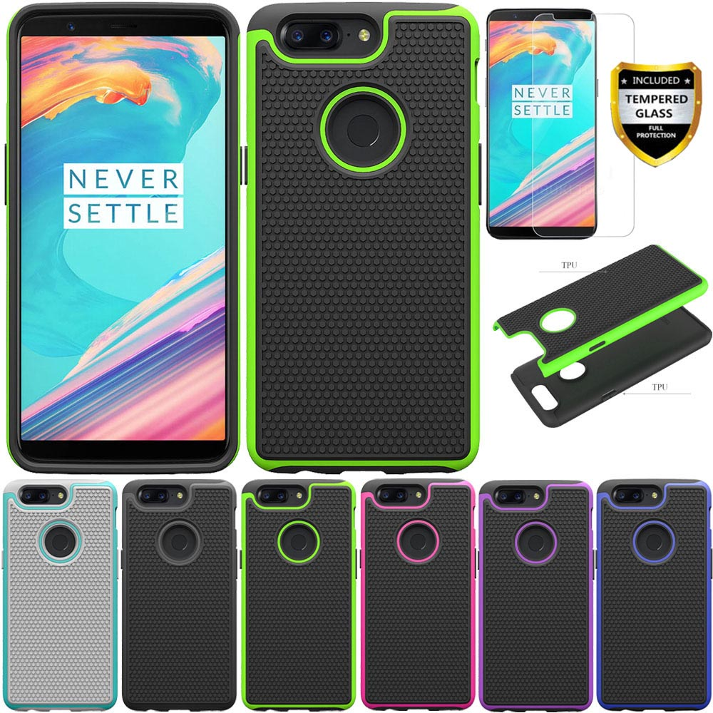 2in1 Heavy Duty Hybrid Rugged <font><b>Case</b></font> With Tempered <font><b>Glass</b></font> Screen Protector Shockproof Phone Cover For <font><b>Oneplus</b></font> <font><b>5T</b></font> Oneplus5t A5010 image