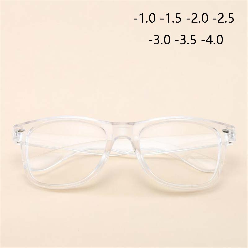 -1 -1.5 -2 -2.5 TO -6.0 Finished Nearsighted Myopia Glasses Transparent White Black Frames Short-sighted Diopters Eyeglasses