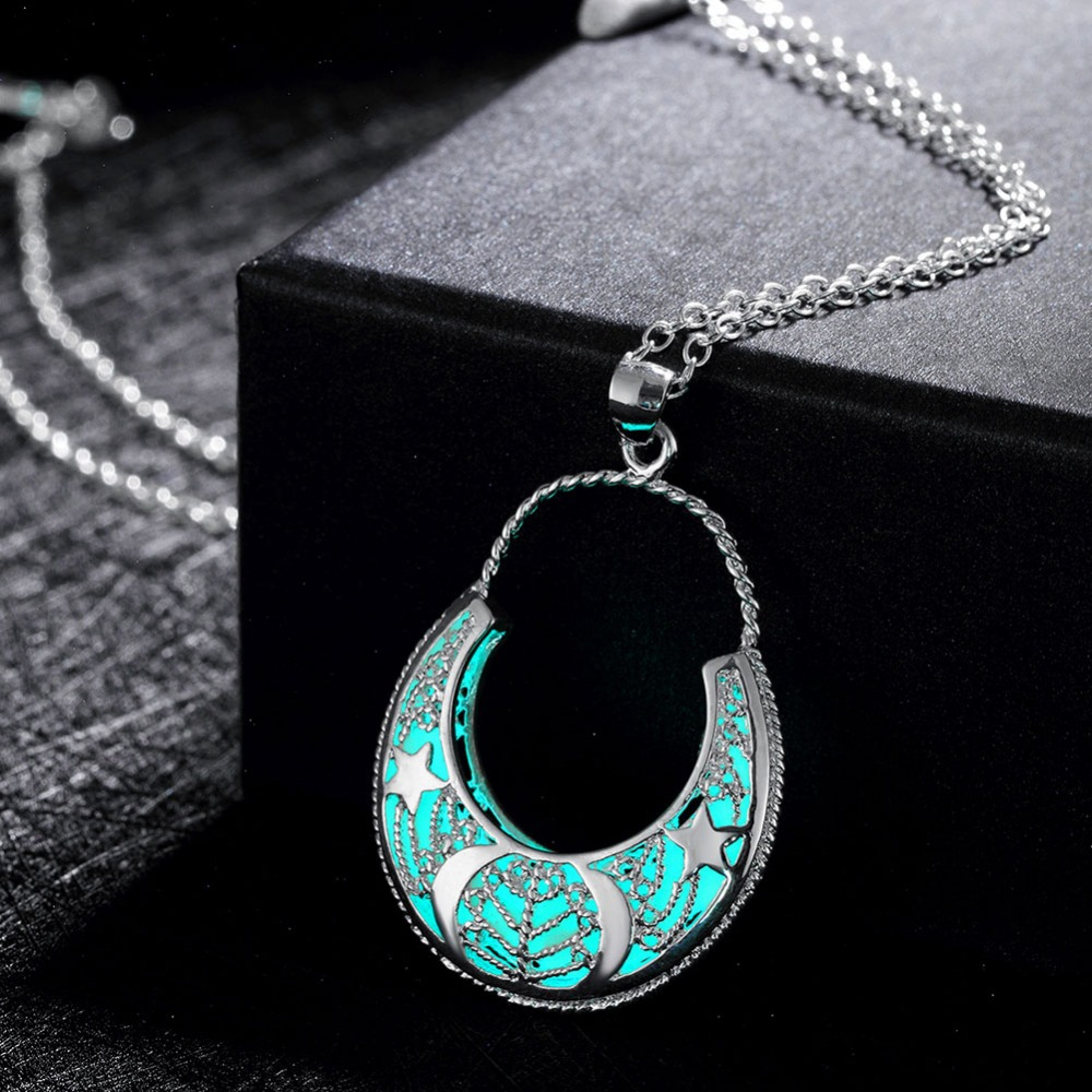 amazing in jewelry glass shipping product pendant necklace dark datk cabochon heart free glow buy img