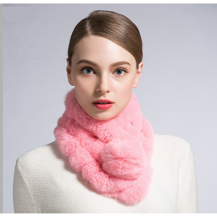 Women's Rabbit Fur Scarf Lady Fur Scarf 100% Real Rabbit Fur Winter Scarves With Fur balls For Women