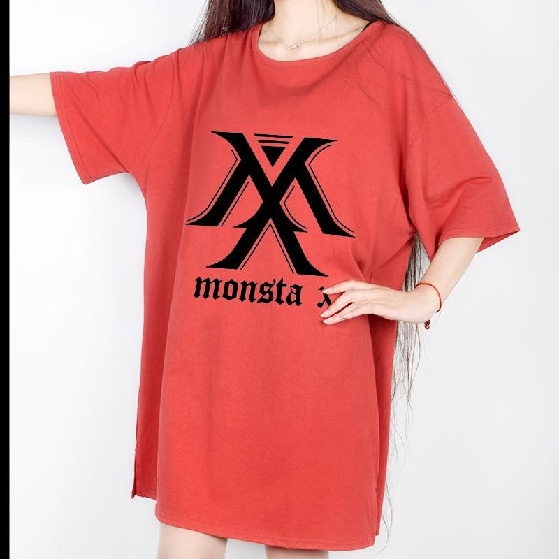 BTS WANNA ONE EXO GOT7 TWICE MONSTA X BLACK PINK SEVENTEEN Bangtan boys KPOP Short sleeve t-shirt dress summer Cotton women red