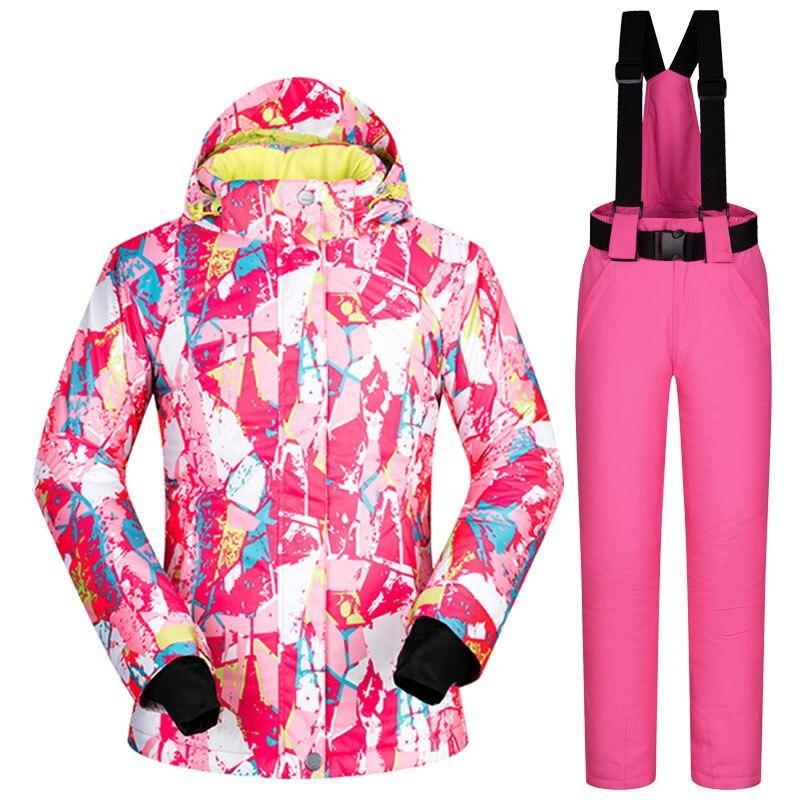 Snowboard costumes marques hiver femmes coupe-vent imperméable à l'eau chaud femme ensembles vêtements de Ski et pantalons de neige en plein air Ski costumes femmes