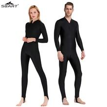 SBART UPF 50 + ليكرا طفح الحرس الرجال النساء السود كامل الجسم قطعة واحدة ملابس السباحة طويلة الأكمام الغوص بدلة لركوب الأمواج الشمس حماية