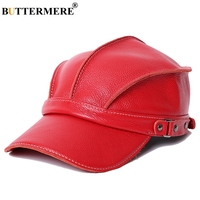 BUTTERMERE 2019 Baseball Cap Women Red Genuine Cow Leather Snapback Caps Ivy Female Adjustable Autumn Winter Brand Baseball Hat