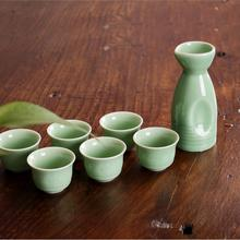 Father's day gift celadon ceramic liquor wine day-temperature glass jug warm jug 7 Wine set цена