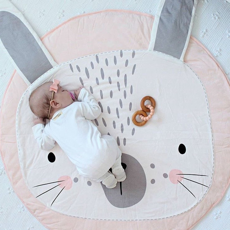 Children's Cartoon Carpet Newborn Kids Play Rug Baby Crawling Blanket Cotton Chilren Padded Mat Round Carpet Kid Room Decoration