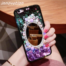 Innovation Hot Love Heart Glitter Stars Dynamic Liquid Quicksand Soft TPU+PC Mirror Bling Phone Back Cover Case OPPO R9S Plus R9
