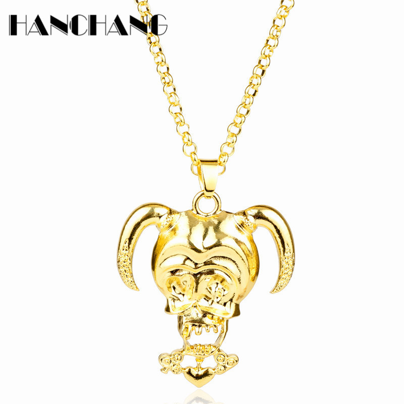 Suicide Squad Neclace clown Skull Harley Quinn Pendant Necklace Shiny Gold Color Neckwear Girls Women Choker Necklace Gifts