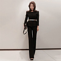 White Black Women Suits Office Sets Elegant Pant Suits For Women High Waist Trouser Slim Tops Womens Suits Set 2 Pieces Ds50754