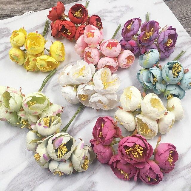 6PCS Artificial Simulation Of Small Flowers Bud Silk Rose Tea DIY Handmade  Home Furnishing Decoration Wedding