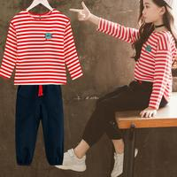2018 2pcs Children Clothing Sets For Toddler Girls Autumn Kids Clothes Sports Suits Baby Girl Sportswear Striped T shirts + Pant