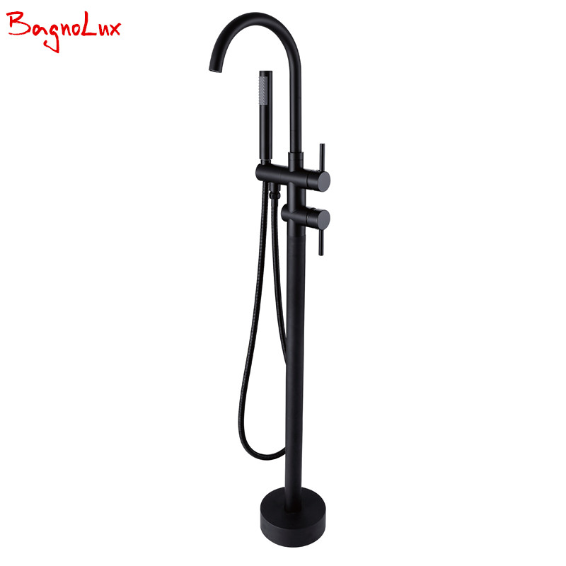 Luxurious Wholesale Matt Black High Rise Round Spout Bath Mixer Tap Floor Mounted Bathtub Filler Shower Roman Tub Faucet Set