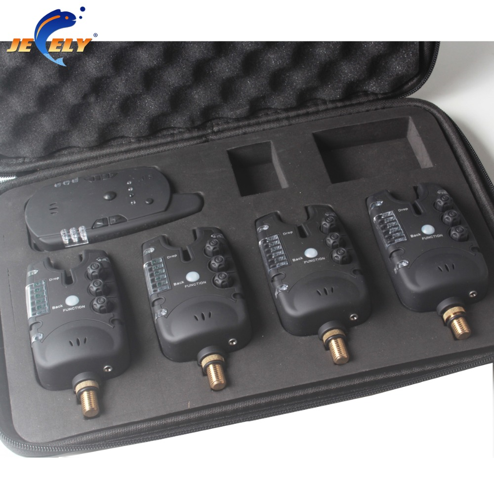 1+4 Set Wireless Carp Fishing Bite Alarm Set in EVA Case for Carp Fishing Tackle