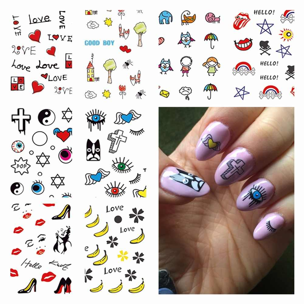 YZWLE 1 Sheet Optional Beauty Nails Harajuku Designs Nail Art Water Decals Floral Transfer Stickers For DIY Nails Art