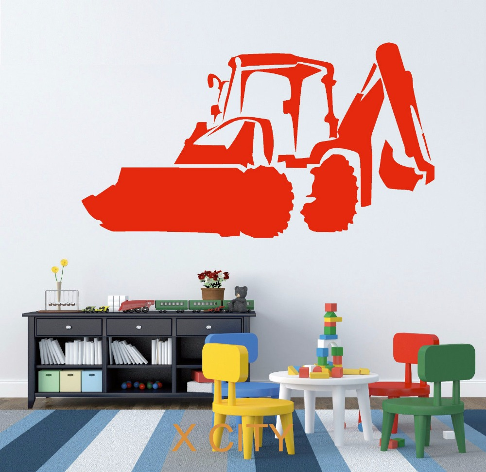 jcb digger excavator wall art sticker vinyl transfer decal door
