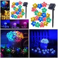Outdoor 50 Leds Solar String Lights Flowers Blossom Waterproof Decoration Lamp For Garden Lawn Christmas Tree