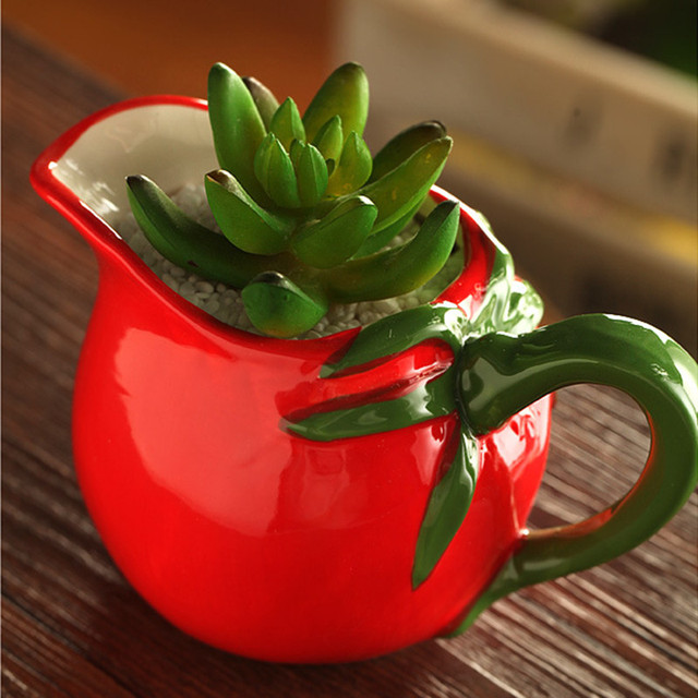 Whole Cute Small Indoor Decorative Ceramic Flower Pot Plants Gardeners Flowerpots Tomato Z Vintage Mini Red