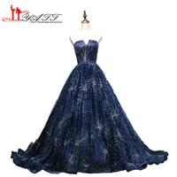 2017 Custom Made New Arrival Navy Blue Sparkling Strapless Ball Gown Amazing Vintage Arabic Evening Prom Dresses LIYATT