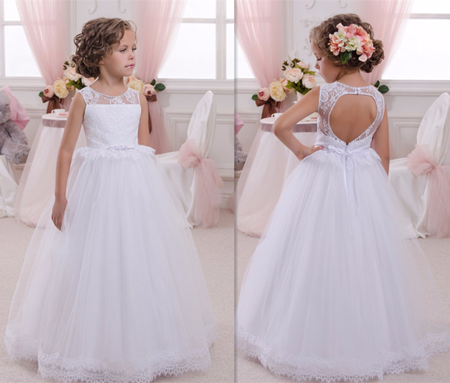 White Lace Girls First Communion Gown Lace Up Kids Floor Length Open Back Puffy Tulle Ball Gown Flower Girls Dresses 0-16Y летние шины michelin 195 r14c 106 104r agilis