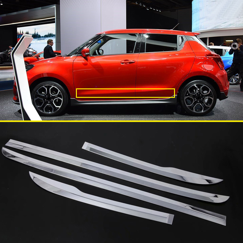 For Suzuki Swift 5-door hatchback 2018 2019 ABS Chrome Side Door Car Body Molding Strips Cover Trim 4pcs Car Accessories 4pcs stainless steel side door body molding cover trim for bmw x5 f15 2014 2015 car accessories