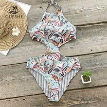 CUPSHE Tropical Paradise Reversible Halter One Piece Swimsuit Women Cutout Monokini Bathing Suits 2020 Girl Sexy Swimwear