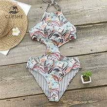 CUPSHE Tropical Paradise dwustronny Halter jednoczęściowy strój kąpielowy kobiety wycięcie Monokini kostiumy kąpielowe 2020 dziewczyna seksowne stroje kąpielowe