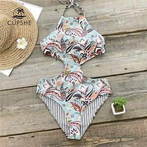 Image 1 - CUPSHE paraíso Tropical Reversible Halter de una pieza traje de baño mujeres recorte Monokini trajes de baño 2020 chica Sexy traje de baño