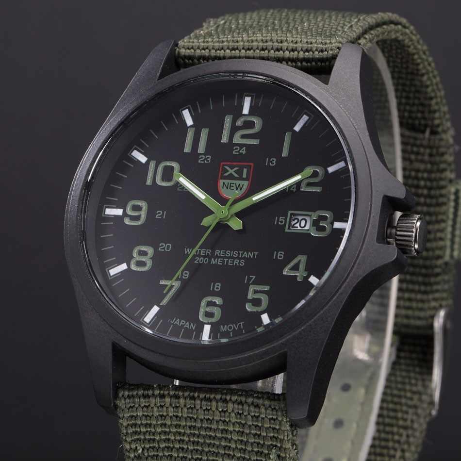 กีฬากลางแจ้ง Mens วันที่นาฬิกาผู้ชายสแตนเลสทหารทหาร Analog ควอตซ์นาฬิกาข้อมือนาฬิกาข้อมือ