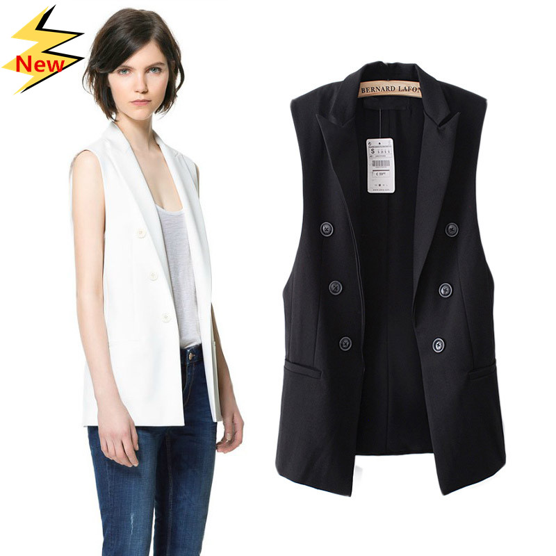 eebec29e91f890 Fashion Women Elegant Jackets Vests Women Sleeveless Outerwear Casual Brand  Suit Coats-in Vests   Waistcoats from Women s Clothing on Aliexpress.com ...