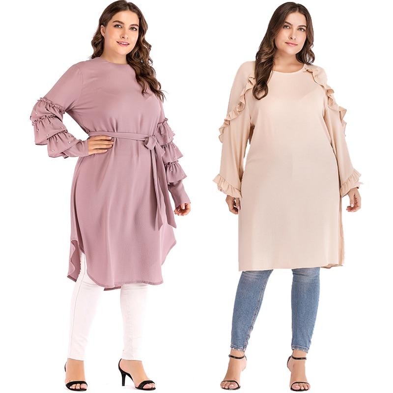 Plus Size 5XL 2019 Arabic Turkey Islam Women Muslim Long Sleeve Top Dress Abaya Musulman Saudi Arabe Islamic Long Tops Clothing