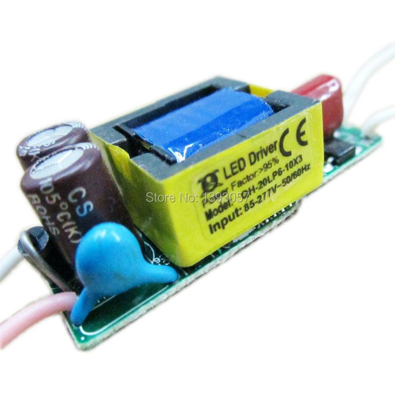 10pcs 6-10x3w ovladač s konstantním proudem, 85-277V 600ma 6x3w 8x3w 9x3w 10x3w 20W napájení pro LED transformátor světla
