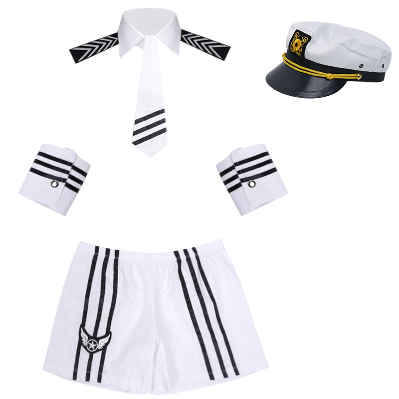 Image 4 - Adult Men Lingerie Sexy Sailor Cosplay Costumes Carnival Navy Uniform Shorts with Cap Collar Tie Cuffs Cosplay Party NightwearSexy Costumes   -