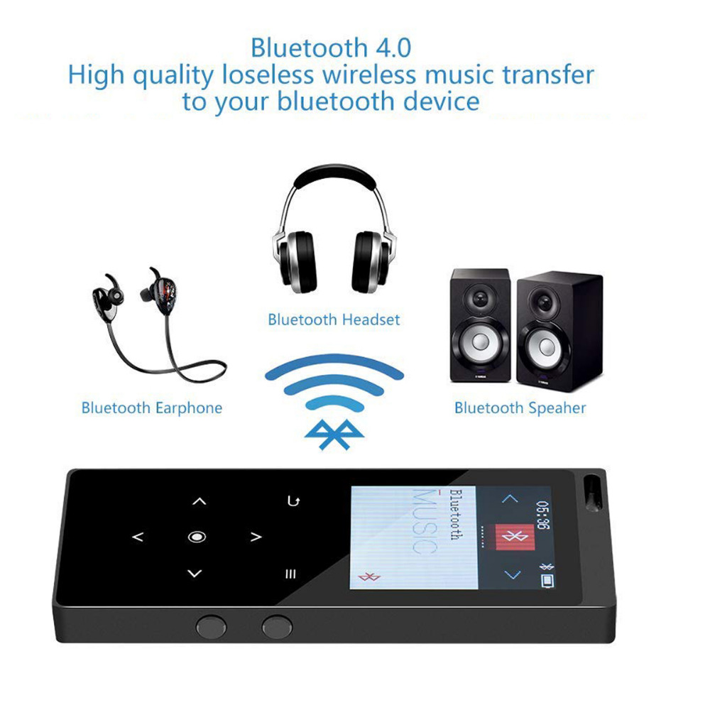 Bluetooth4.2 mp4 Player com Speaker 16GB Metal Corpo de Toque Chave hifi Lossless Leitor de Música com rádio FM