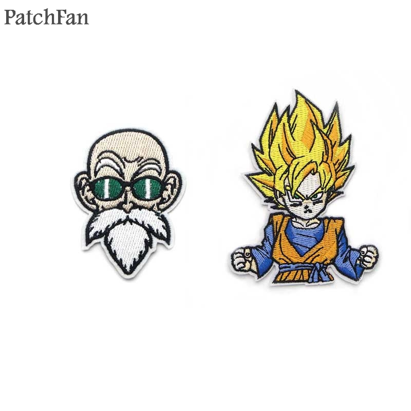 Honesty 3 Dragon Ball Z Goku Blue Patches For Backpack Diy Iron On Applique Japanese Anime Cosplay Full Embroidered For Clothing Diy Entertainment Memorabilia Music Memorabilia