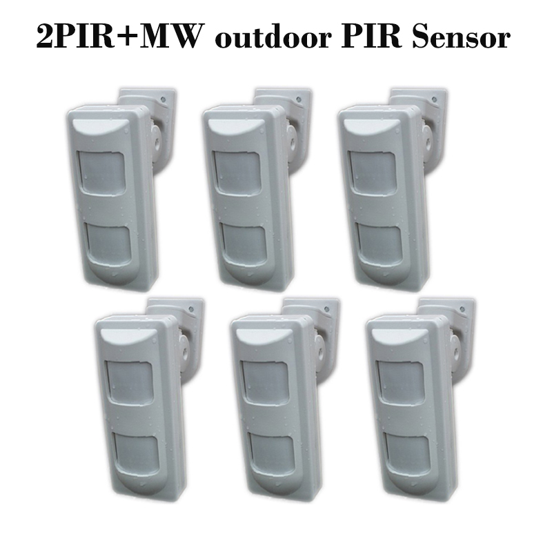 6pcs DHL Free Shipping Outdoor Street Motion Detector Wired 2PIR+Microwave Tech Exterior PIR Motion Sensor for Wired Alarma Casa