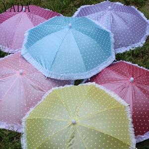 YADA Portable Head Umbrella Hat Fishing Caps Dot Lace Umbrella Sports Cap Girl /Baby Born Dolls Handmade Outdoor Umbrella YD153(China)