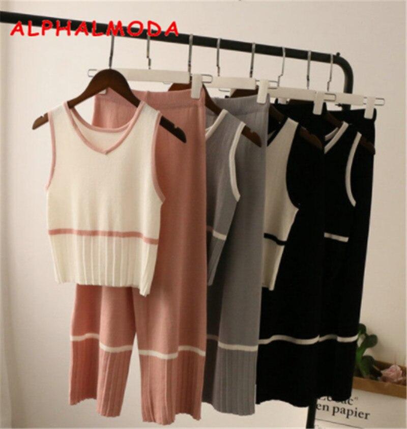ALPHALMODA England Style Women Summer Knit Sleeveless Jumper + Wide Leg Calf-length Pants Casual 2pcs Suits